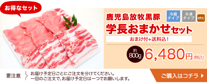 鹿児島放牧黒豚 学長おまかせセット 約800g+おまけ(送料込み) 冷蔵・冷凍 【40071】